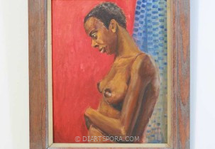 Nude Woman on Red Background by J.R. Kimmal