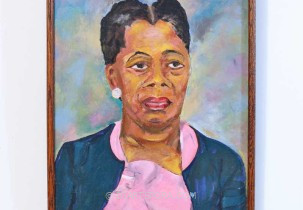 Portrait - Woman in Pink Blouse by Michener