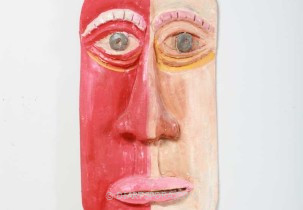 Red and White Face Mask by David Ramsey