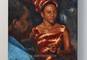 African Lady with Blue Man by B. Hofman