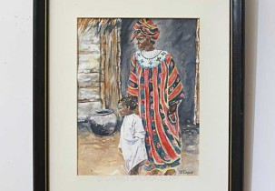 African Village Woman and Child